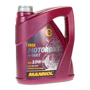 Mannol 7812 Moto 4-Takt 10W-40 Huile de Moto, Api Sl, Jaso MA2, 4 Litre