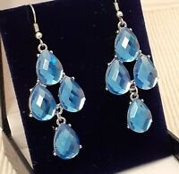 Vintage Style Faceted Blue Glass Chandelier Drop Dangle Pierced Earrings