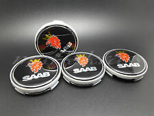 4x63mm BLACK Saab 93,95 Alloy Wheel Hub Center Caps 9-3,9-5