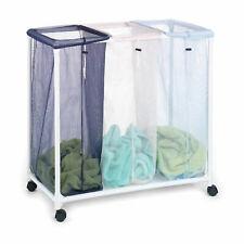 HOMZ 4549010 Triple Organizador Clasificador de lavandería cesta de malla con bolsas de extraíble