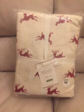 Pottery Barn JUMPING REINDEER Organic Flannel King Sheet Set NEW CHRISTMAS🎁🎄