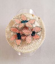 Lovely Handmade Needle Crochet Lace Flowers Fashion Ring S: 7-7 1/2 - N - O