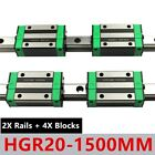 2PCS HGR20 200mm-2000mm Linear Guide Rail + 4PCS HGH20CA Slider Block For CNC US