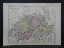 Antique Map, 1875, Europe - Switzerland