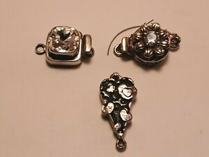 Sterling Silver Vintage Jewelry Clasps Lot of 3