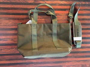 LL Bean olive green medium zipper tote w/strap
