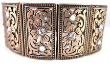 £65 Art Nouveau Baroque Gothic Gold Flower Bracelet Swarovski Elements Crystal