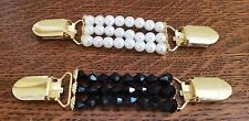 Set 2 Cardigan Clips Elasticated Fasteners Clasps Faux Pearl Fashion Accessory