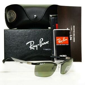 Authentic Ray-Ban Sunglasses Polarized Black Silver RB 8312 Carbon Tech 125/9A