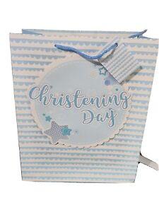Gift Bag. Large Portrait Glitter Baby Boy Christening Day  26.5x32.5