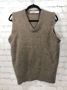 LL BEAN 100% Lambswool Sweater Vest Pullover L Made in Scotland Large Beige L