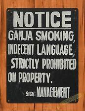 """TIN-UPS TIN SIGN """"Ganja Smoking"""" Marijuana Rustic Wall Decor"""