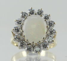 Hallmarked 9ct Yellow and White Gold Opal and CZ Cluster Dress Ring REF718