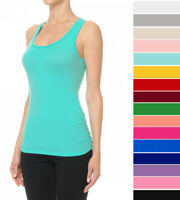 Women Solid Tank Top Ruched Sides Scoop Neck Sleeveless Racerback Cotton Stretch