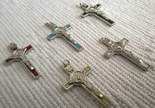 LOT / SET of 5 St Saint Benedict Crucifix Cross Multicolor Pendant 2.2 inches