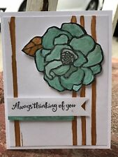 Card Kit Set Of 4 Stampin Up Flower Shimmer, Metallic Water Colored Handmade