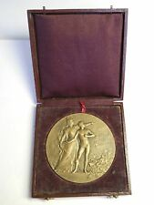 1900's FRANCE SHOOTING BRONZE MEDAL, RARE LARGE 68mm W. ORIGINAL BOX, NUDE MALE