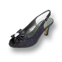 ae778012bd73 FIC FLORAL Staci Women Wide Width Peep Toe Glitter Bow with Jewel Slingback  Pump