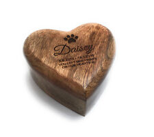 Personalised Pet Memorial Ashes Urn Cremation Heart Casket Dogs Cats - 3 Sizes