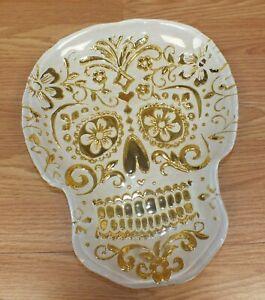 "Unbranded Gold & White 13"" x 10"" Large Cute Glass Skull Halloween Dish Platter"