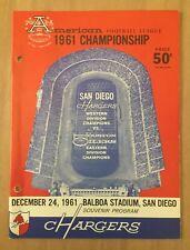 VINTAGE 1961 AFL NFL CHAMPIONSHIP PROGRAM HOUSTON OILERS @ SAN DIEGO CHARGERS