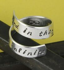 And In That Moment We Were Infinite Wrap Twist Ring - Adjustable Silver Infinity