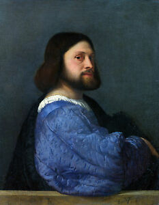 Titian - Portrait of a man with a Quilted Sleeve, Museum Art, Canvas Print