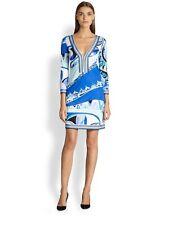 Emilio Pucci Women's Blue Printed 100% Silk Jersey Tunic Dress size 36