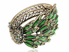 Antique Gold Tone Green Rhinestones Vintage Peacock Bird Cuff Bracelet