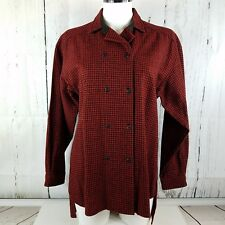 WOOLRICH Women's Vintage size 8 Red Black Buffalo Plaid Wool Blend Shirt 85/15