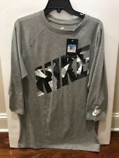 Nike 3/5 Sleeve Tee Mens Athletic Size M, Gray