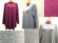 Ex M&S Soft Knit High Neck Long Jumper Sizes 8-18 Grey, Blue or Plum *NEW*