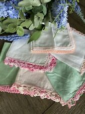 Vintage White Linen and Pink Crocheted Lace Ladies Handkerchiefs Lot of 6