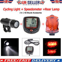 Bicycle Speedometer + 5 LED Mountain Bike Cycling Light Head + Rear Lamp Kit UK