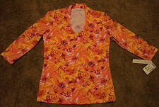 NEW Ladies V-Neck Wildflower Top Blouse Shirt by ANDRE OLIVER Stein Mart Small