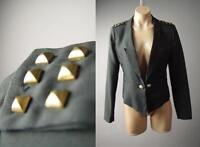 Studded Black Military Punk Women Tuxedo Tux Lapel Jacket 137 mv Blazer S M L