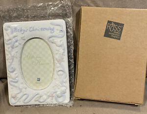 """Baby's Christening Picture Frame 3""""x5"""" Oval Handpainted Heavy Porcelain *NEW"""