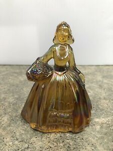 """Vintage Marigold Iridescent Carnival Glass Colonial Lady Holding Basket 5"""""""