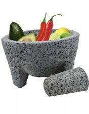 "8"" GUACAMOLE  AUTHENTIC MORTAR AND PESTLE HAND CARVED  LAVA STONE SPICE GRINDER"