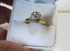Gold Plated Band Cubic Zirconia 7 stones Flower Cluster Cocktail Ring Size 7