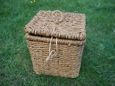 SEAGRASS STORAGE BOX. w/handle & lock. 20cms SQ