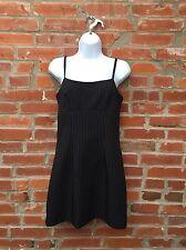 Vintage 90s Black White Pinstripe Mini Dress Womens Tank Spaghetti Strap (1230)