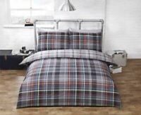CHECK TARTAN GREY RED COTTON BLEND SINGLE DUVET COVER
