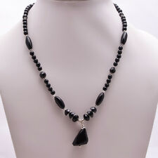 925 Sterling Solid Silver Necklace Black Onyx Handmade (ACIF)