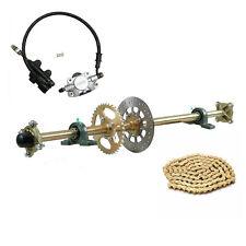 "New listing 44"" Go Kart Rear Live Axle Kit Disc Rotor Sprocket & Wheels Hub + Brake Assembly"