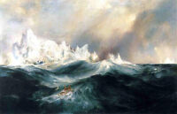 Large Oil painting Thomas Moran - Spectres from the North seascape & huge waves