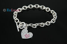 Korean fashion celebrity boa Pink point Cubic Heart Bracelet link chain toggle