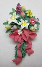 Vintage Flower Bouquet Pin Brooch Floral Arrangement Lilacs Tiger Lily Flowers