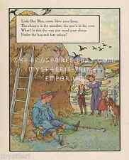 Little Boy Blue-Blow Horn-Sheep-Cow-Nursery Rhyme-1912 ANTIQUE VINTAGE ART PRINT