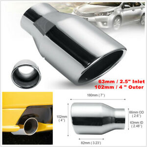 "StainlessSteel Car Exhaust Pipe Muffler End Tips 63mm 2.5"" Inlet 102mm 4"" Outlet"